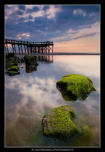 ocean sea sky green beach clouds sunrise pier moss rocks wideangle algae longislandsound walnutbeach jetti sigma1020mm milfordconnecticut tiffencpl hitech09softgrad