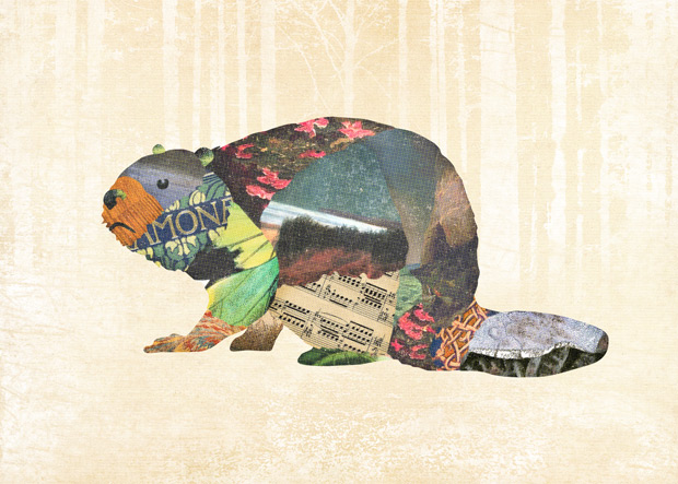 Gerren Lamson collage woodland creatures beaver