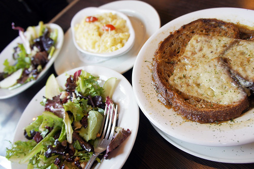 French Onion Soup, salad and mac n' cheese
