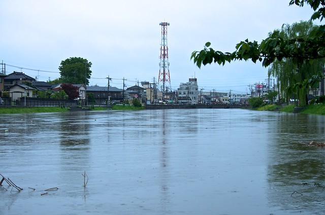 増水した古利根川(杉戸町から)