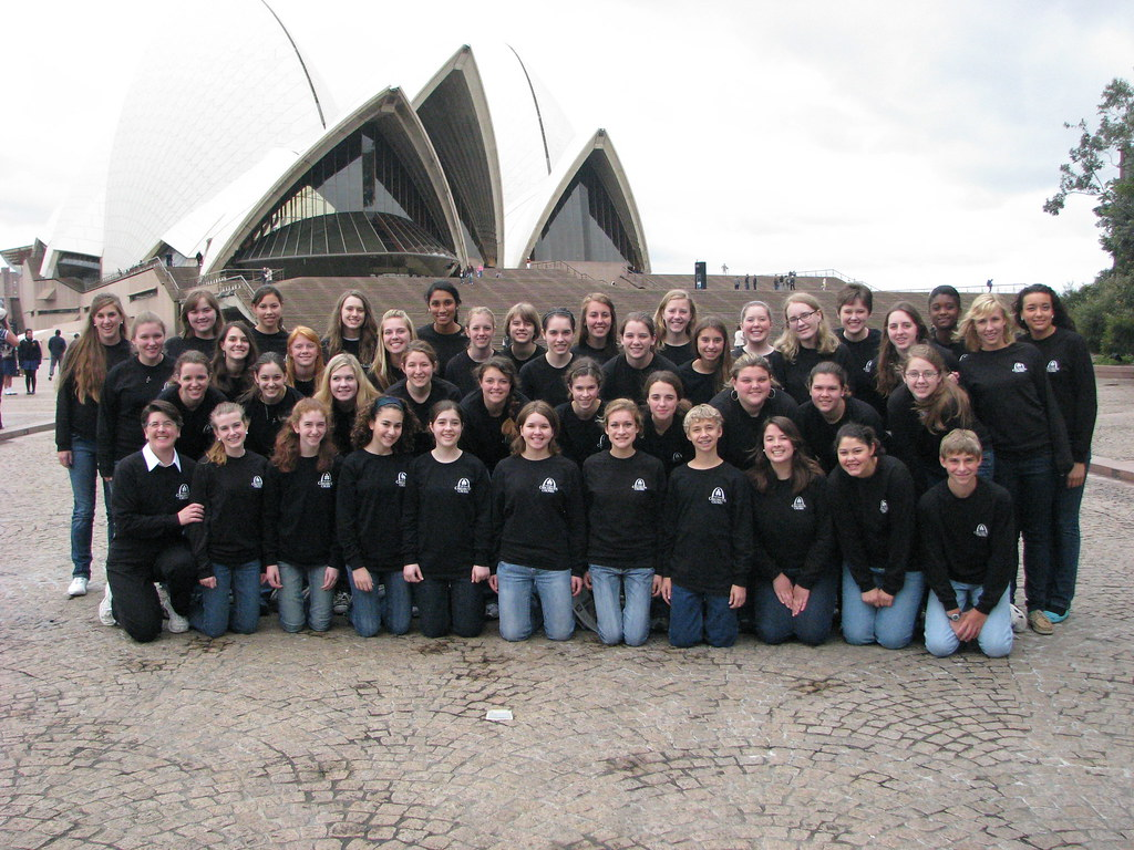 St. Louis Children's Choir in front of the Sydney Opera House