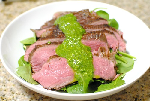 sous vide flank steak with arugula chimichurri darin dines. Black Bedroom Furniture Sets. Home Design Ideas