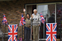 Uncle and aunty from their balcony in Battersea