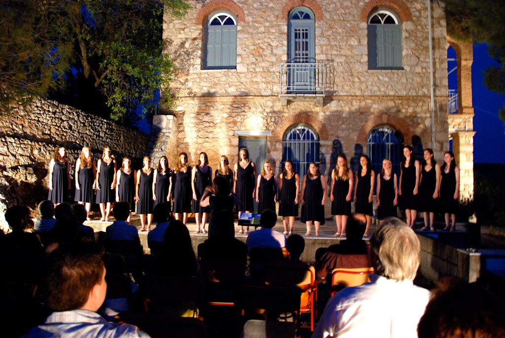 Greenwich Academy Madrigal Singers perform at the Museum of Delphic Festivals in Delphi, Greece