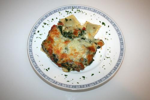 36 - Ravioli-Spinat-Gratin / Ravioli spinach au gratin - Serviert