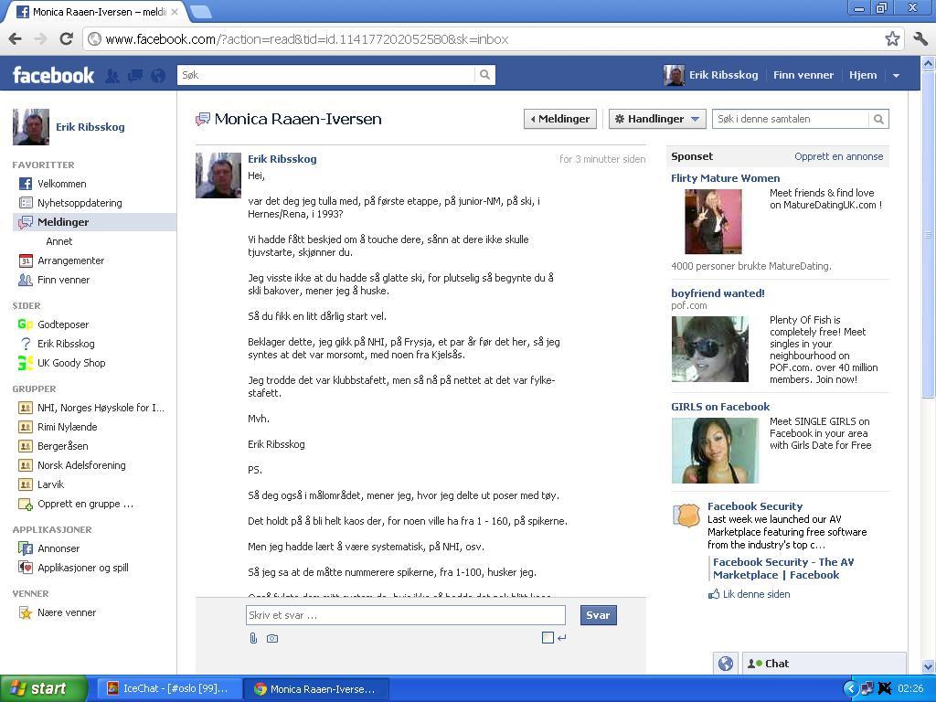 jeg sendte facebook melding til monica raaen-iversen