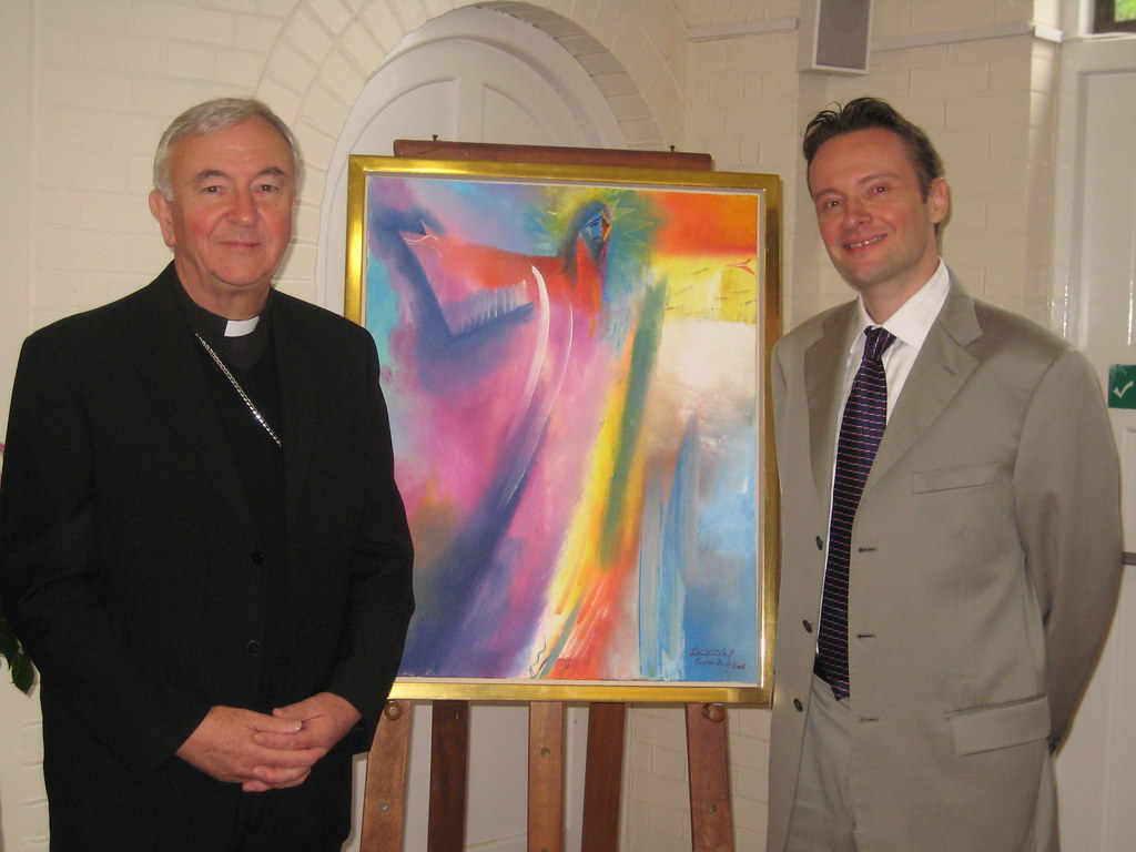 Archbishop Vincent Nichols with artist Stephen B Whatley. May 2012