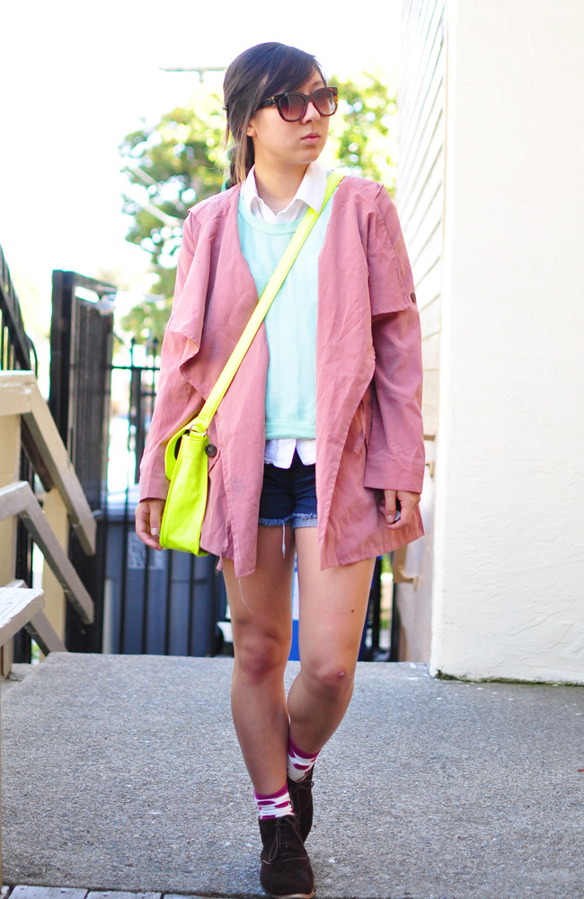 pink parka, mint Silence and Noise cutout sweater, Ralph Lauren sleeveless button up, forever 21 denim shorts, raspberry ankle socks, brown booties, neon satchel