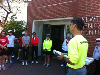 Steve Heinrichs of Bike Newton giving safety instruction before a Senior Ride in 2011