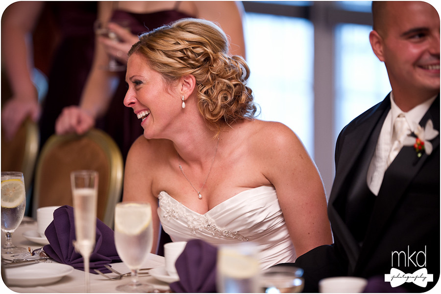 Bride laughing at MOH speech