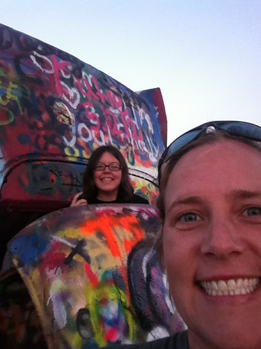 Cadillac Ranch!  Jana and Suz