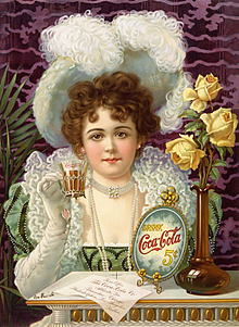 1890 ad of finely dressed woman drinking Coke