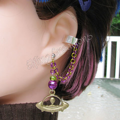 Purple and Green UFO Cartilage Chain Earring