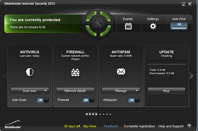 Bitdefender Internet Security 2012 Home Dialogue