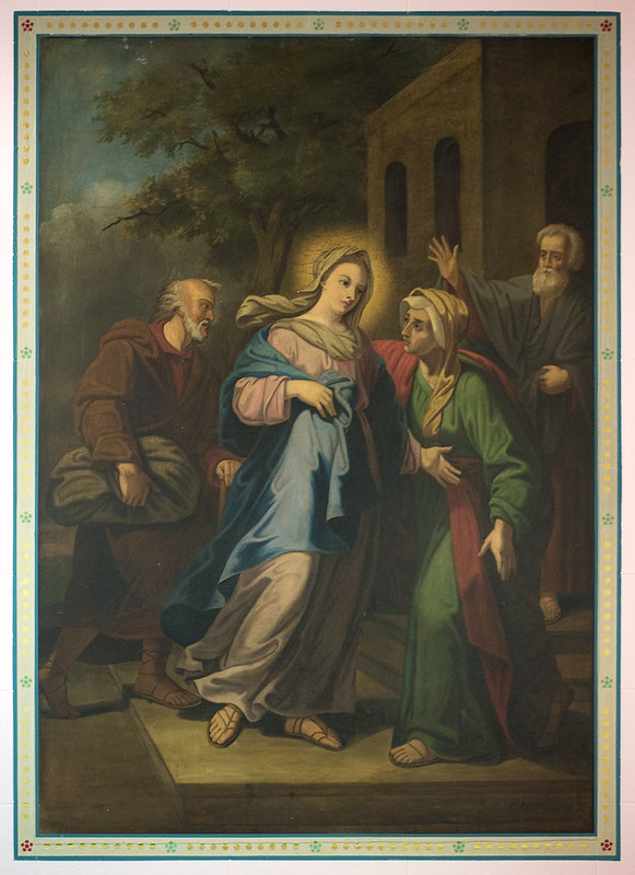 Visitation:Saint Ann Shrine Roman Catholic Church in Saint Louis, Missouri, USA - painting of The Visitation