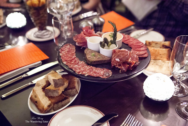 Appetizers of various salumi and charcuterie
