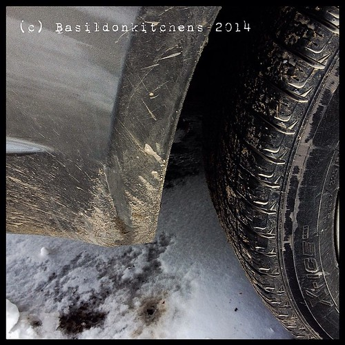 29/3/2014 (catching up) - spattered {my car is spattered in mud; one of the joys if living in the country} A least it's all melting  #photoaday #spattered #mud #spring #rural #country #countryroads #car