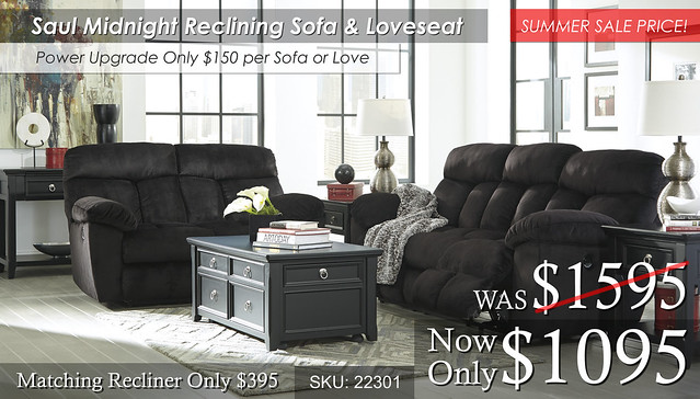 Saul Midnight Reclining Set