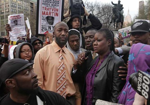 NEW YORK, NEW YORK--MARCH 21, 2012--Tracy Martin, left center, and Sybrina Martin, right, the parents of Trayvon Martin, take part in a rally in Union Park in New York City on March 21, 2012. by Pan-African News Wire File Photos
