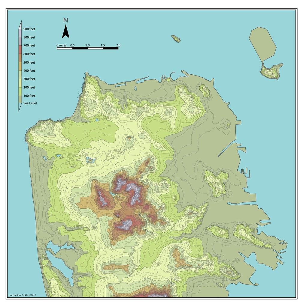 San Francisco Elevation Map San Francisco Topography
