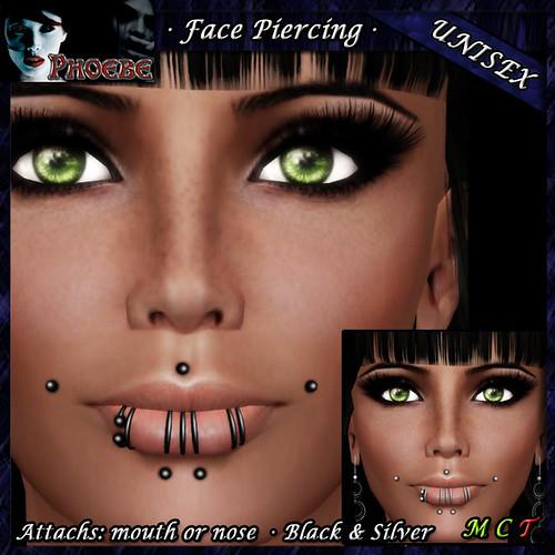 *P* Unisex Face Piercing ~ Serie M1 ~ Black & Silver