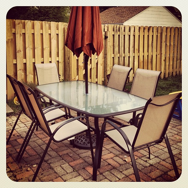 6 years after we built our patio we finally have a real grown up patio set!