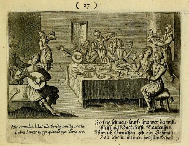 >Feast and music. Peter Rollos 1608-39. Emblem book, engrav.  Paris. U of Illinois.