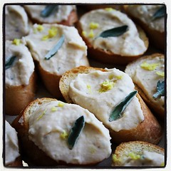 Cannellini crostini with lemon zest and fresh sage