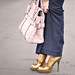 jerome c rousseau gold  shoes  and kooba bag