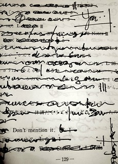 "random moment #1: asemics blackout poem ""Don't mention it."""