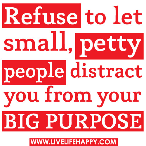 refuse to let small  petty people distract you from your b