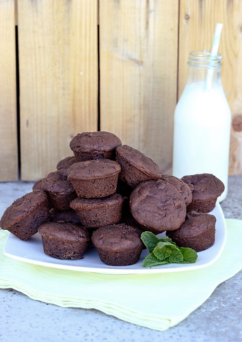 Mint Chocolate Chip Brownie Bites - Gluten-free + Vegan