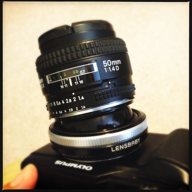 Just made a great Craigslist trade for my Lensbaby Composer for this Tilt Transformer. Nikon lenses on my Olympus PEN!