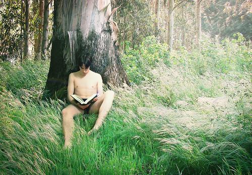 [フリー画像素材] 人物, 男性, 人物 - 森林, 本・ブック ID:201205161600