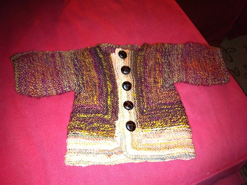 Handspun BSJ is done but for blocking! (for @wren's pending wee laddie)