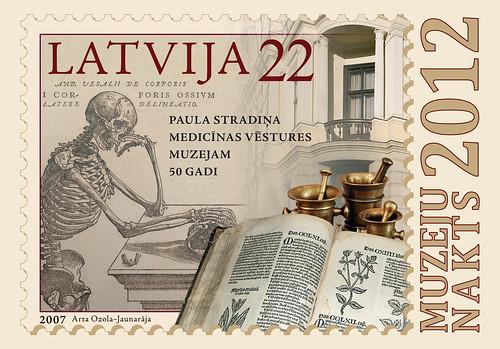 Latvijas Pastam šogad Muzeju naktī īpašas pastkartes un speciālais zīmogs ar slavenā flāmu anatoma Vezālija zīmēto skeletu