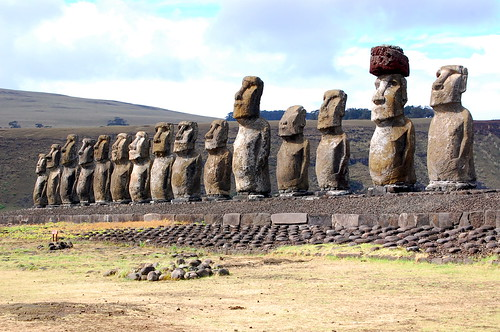 The Easter Island Statues are world-renowned, standing firmly on their stone Ahu.