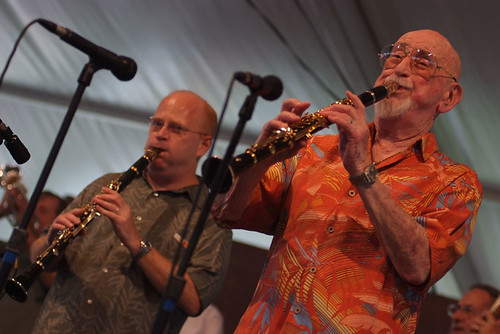 Pete Fountain and Tim Laughlin at Jazz Fest 2009. Photo Leon Morris.