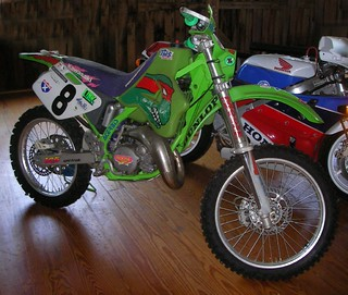 """Team Mirage"" ::  Tommy Norton's Hare Scambles Bike, modified Kawasaki KX125 (( 199x ))  [[ courtesy of Peter Laird ]]"