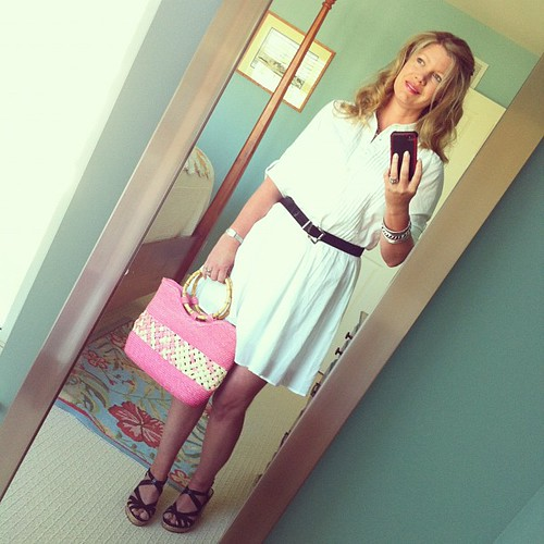 Tuesday's ootd: FOUND: White shirt dress, GAP.  Sandals, Katie and Kelly via DSW. bracelets, Charming Charlie.