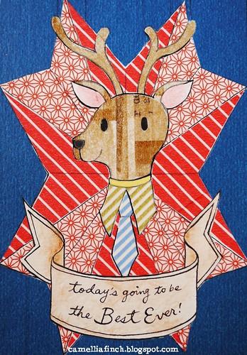 紙膠帶明信片 鹿先生