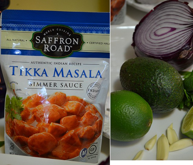 Tikka Masala Tacos with ingredients