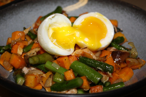 Smoked Salmon, Sweet Potato & Asparagus Hash