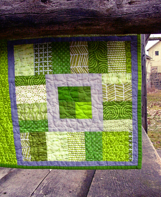 green squares baby improv quilt detail
