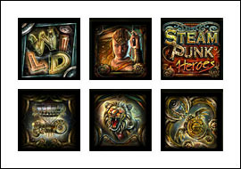free Steam Punk Heroes slot game symbols
