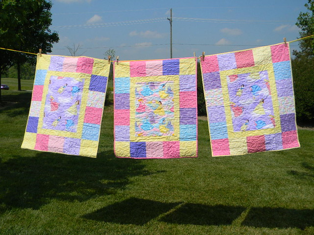 3 Disney princess quilts on the line