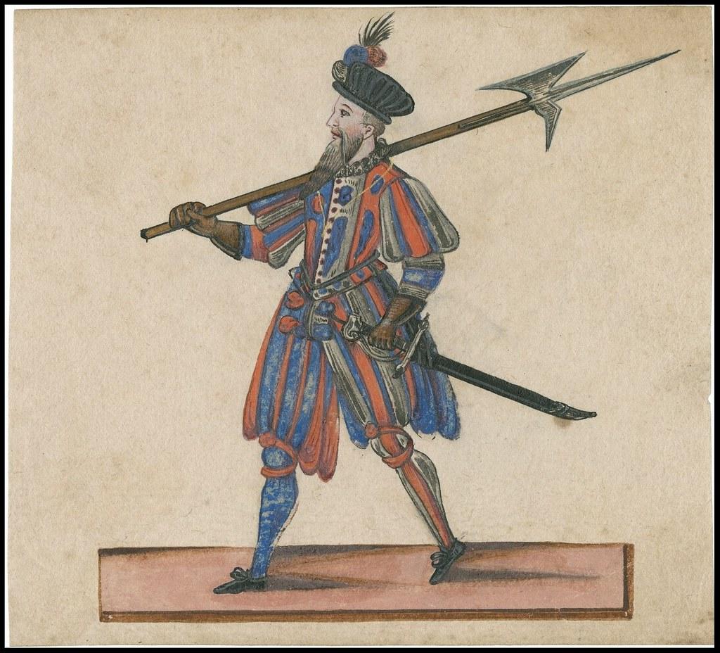 uniformed walking Jacobean sentry or soldier, pike-axe on shoulder, sword in belt
