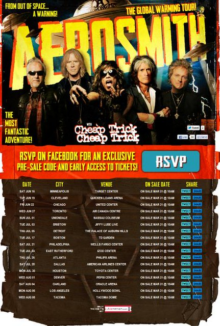 Summer 2012 Aerosmith/Cheap Trick 'Global Warming Tour' Ad