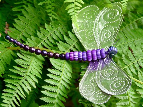 Punched tin and Gypsy Trade Beads - Dragonfly