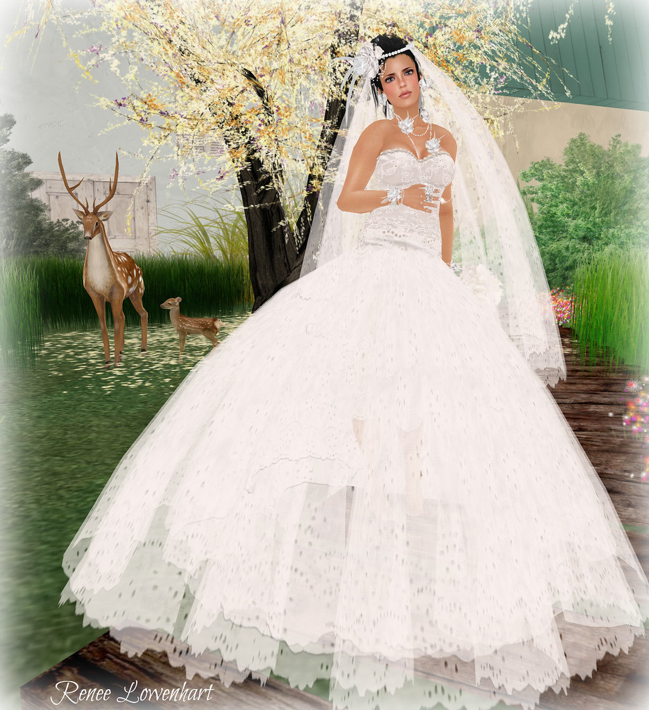 Sims 3 Wedding Dress White lace wedding gown.